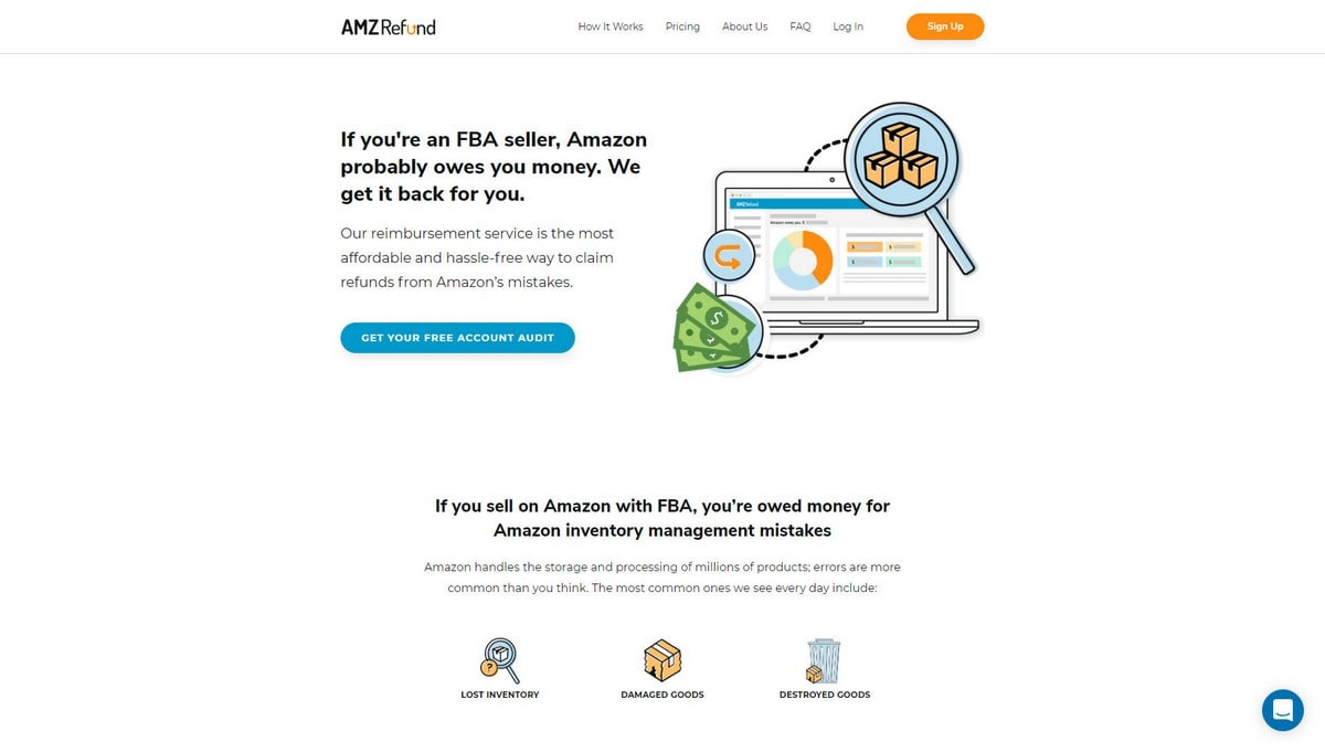 AmzRefund landing page screenshot