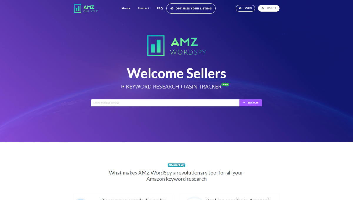 AMZ WordSpy landing page screenshot