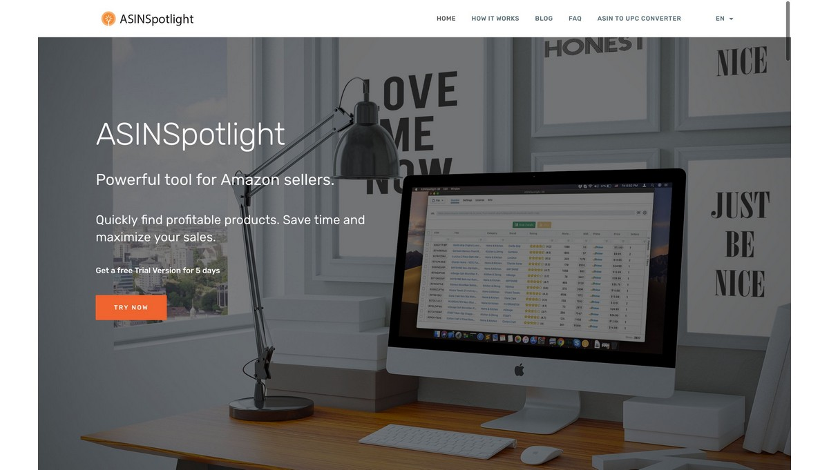 ASINSpotlight landing page screenshot