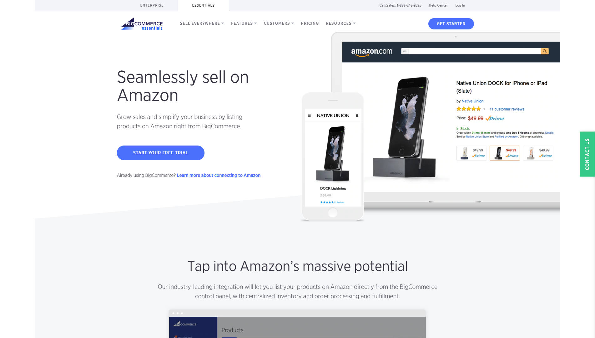 BigCommerce landing page screenshot
