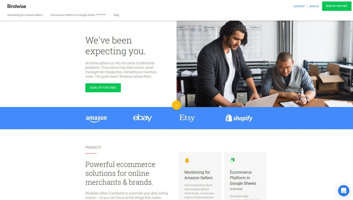 Bindwise landing page screenshot