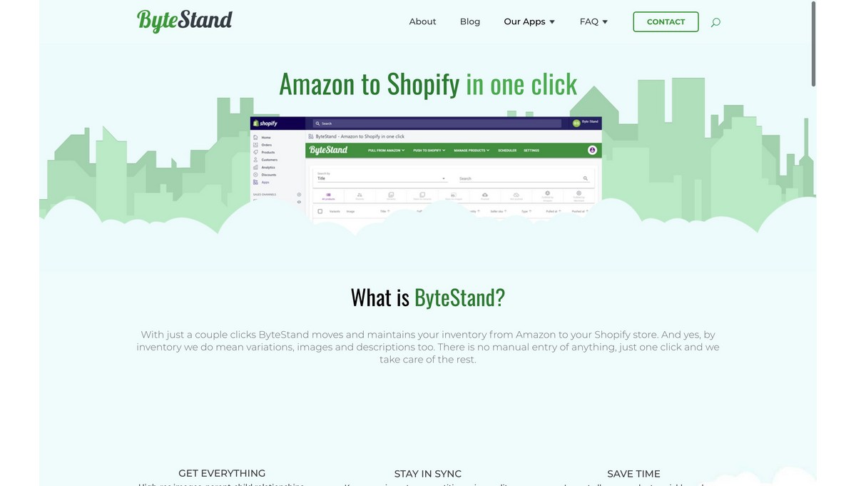 ByteStand landing page screenshot