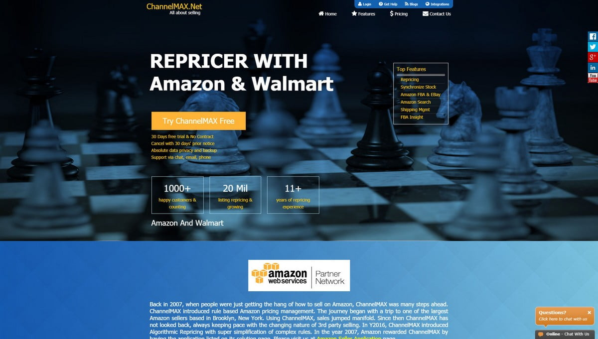 ChannelMAX landing page screenshot