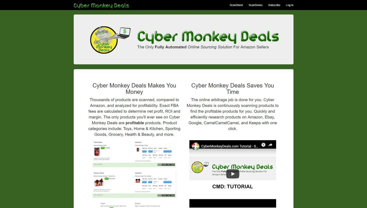 Cyber Monkey Deals landing page screenshot