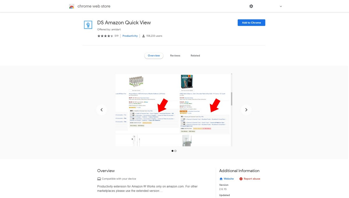 DS Amazon Quick View landing page screenshot