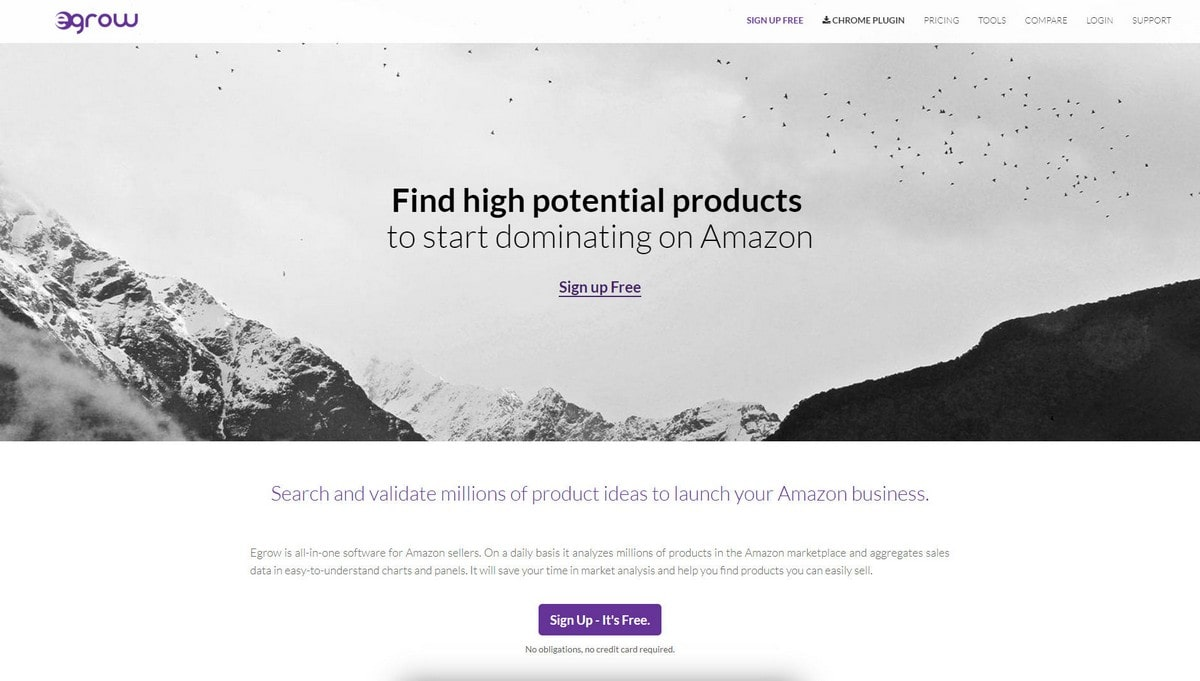 Egrow  landing page screenshot