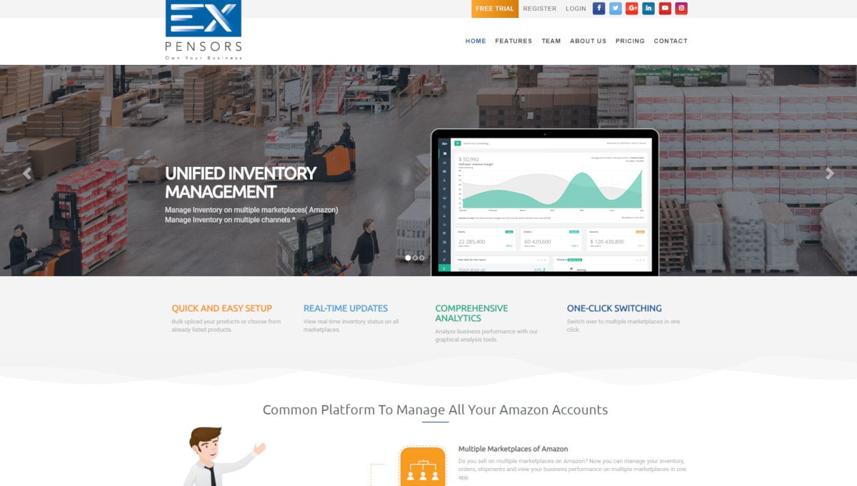 EXpensors  landing page screenshot
