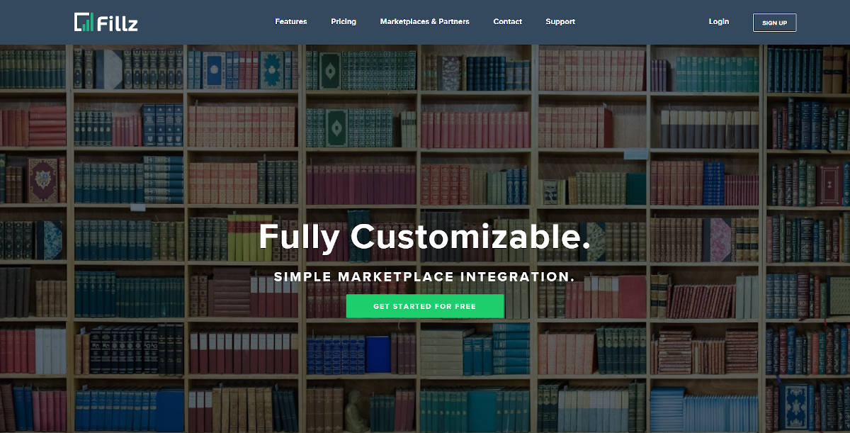 Fillz landing page screenshot