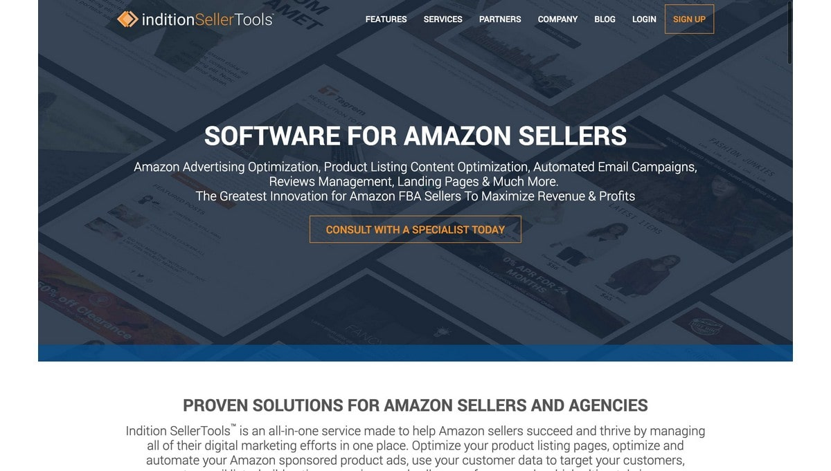 Indition Seller Tools landing page screenshot