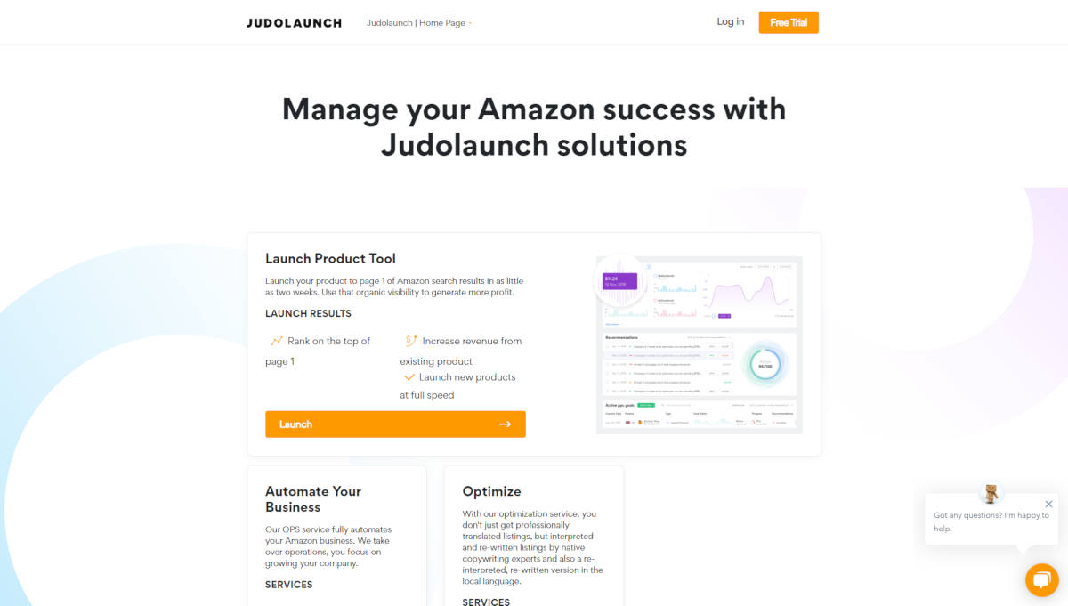Judolaunch  landing page screenshot