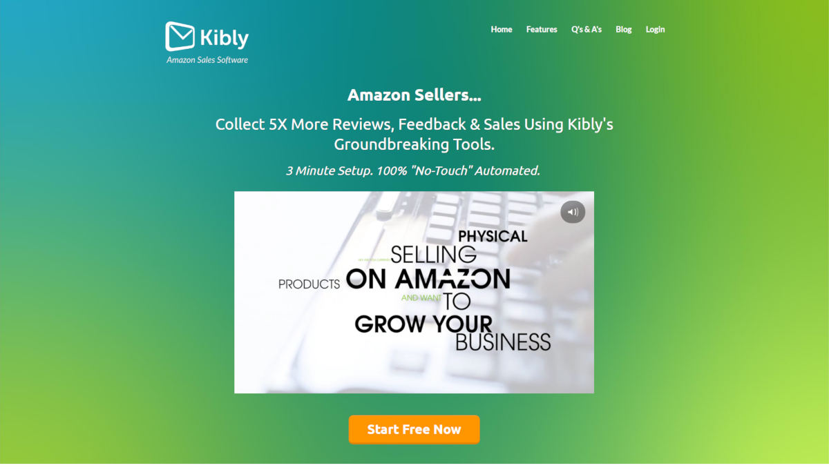 Kibly landing page screenshot