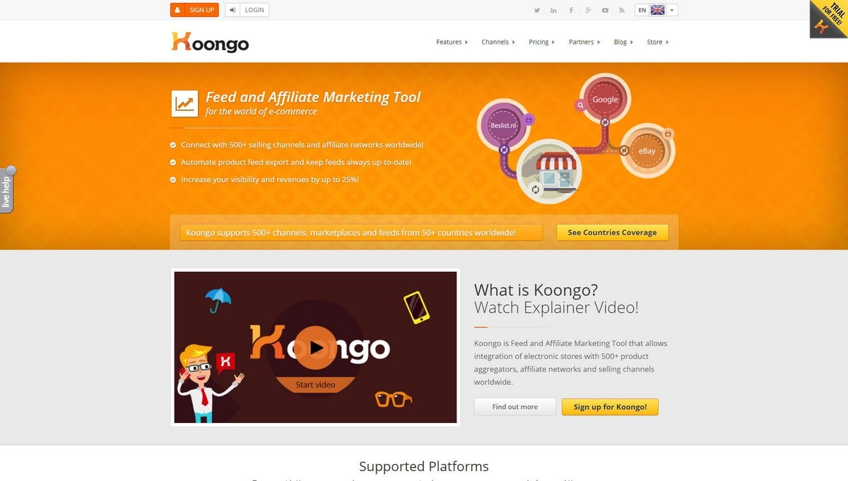 Koongo landing page screenshot