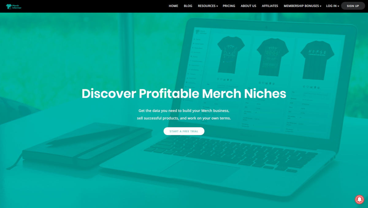 Merch Informer landing page screenshot