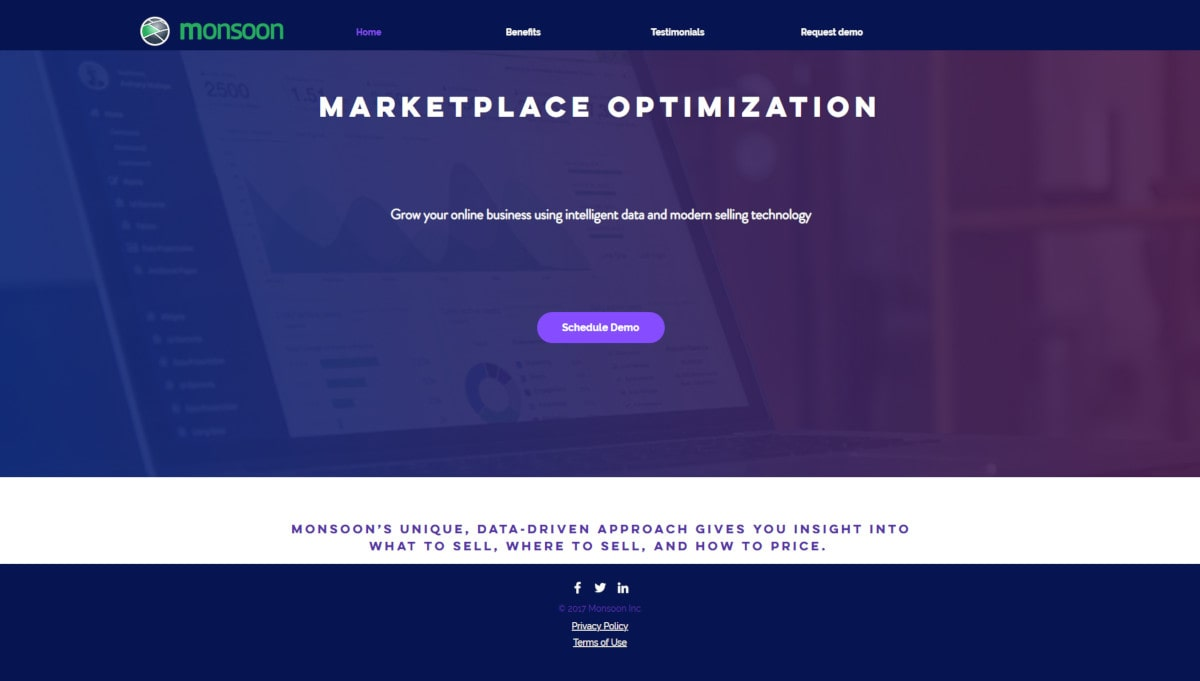 Monsooninc landing page screenshot