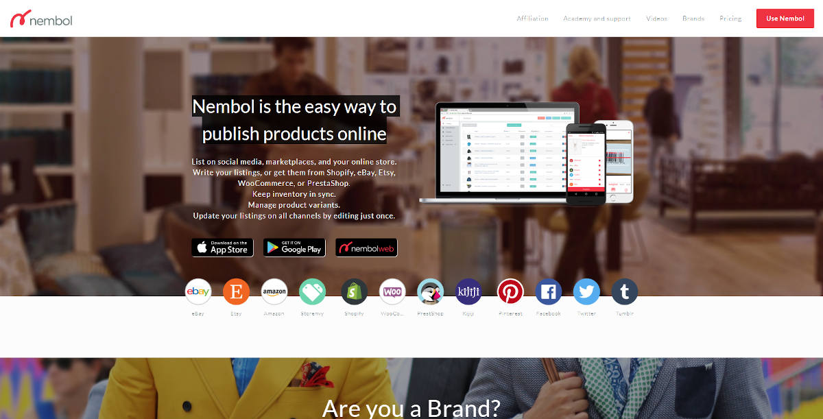 Nembol landing page screenshot
