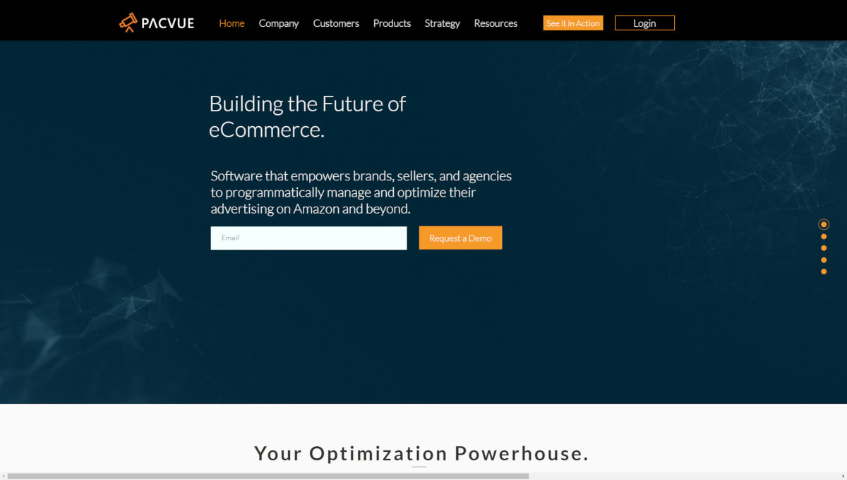 Pacvue  landing page screenshot