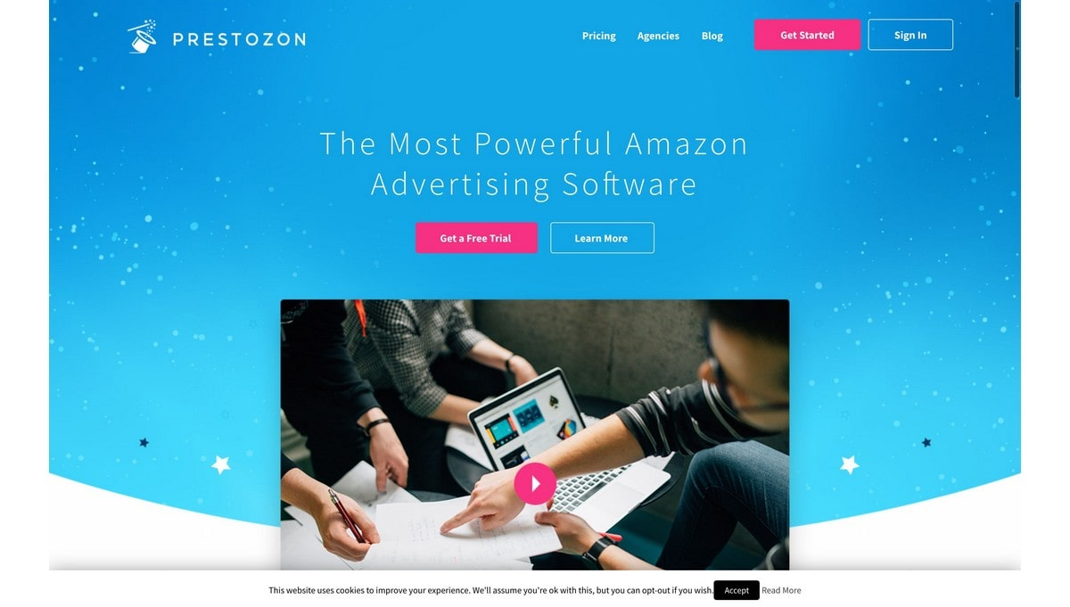 Prestozon landing page screenshot