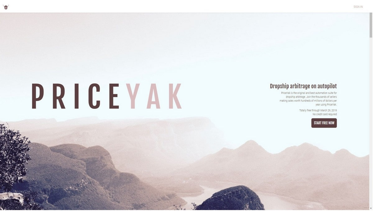Priceyak landing page screenshot