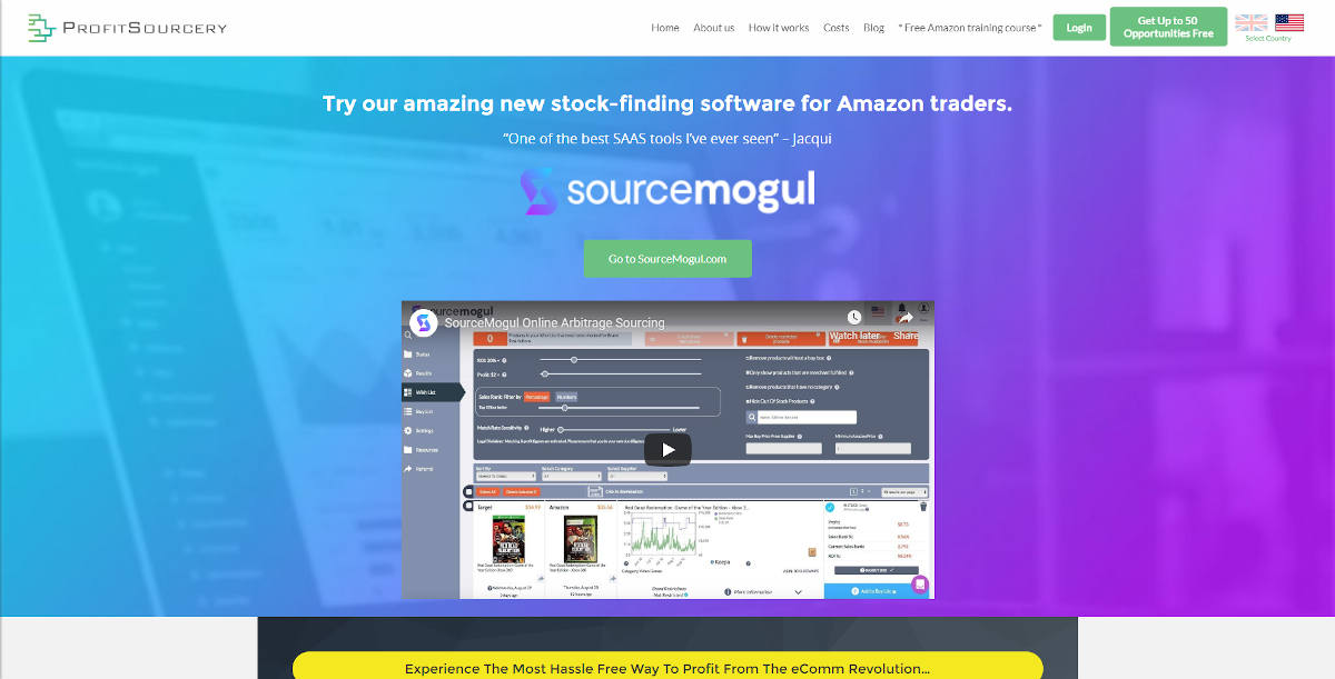 ProfitSourcery  landing page screenshot
