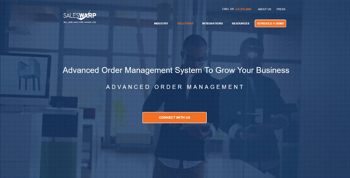 SalesWarp landing page screenshot