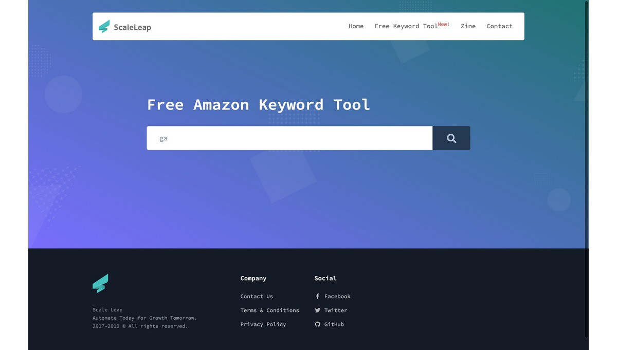ScaleLeap Keyword Research landing page screenshot