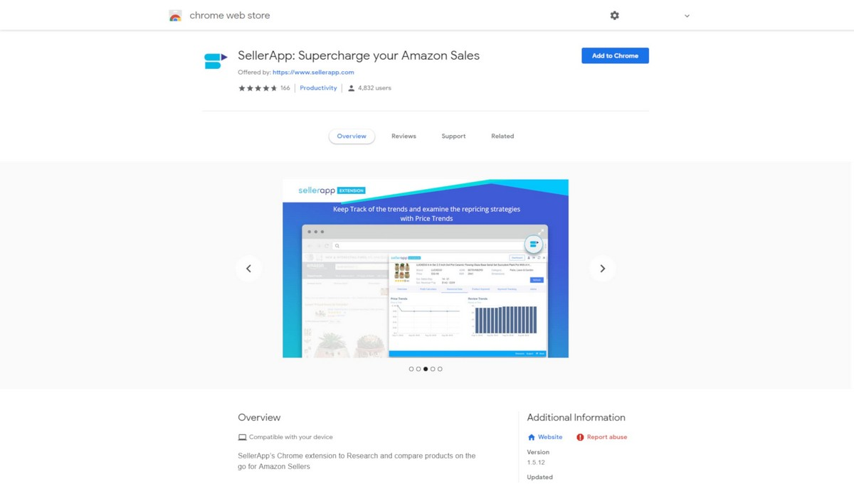 SellerApp Extension landing page screenshot