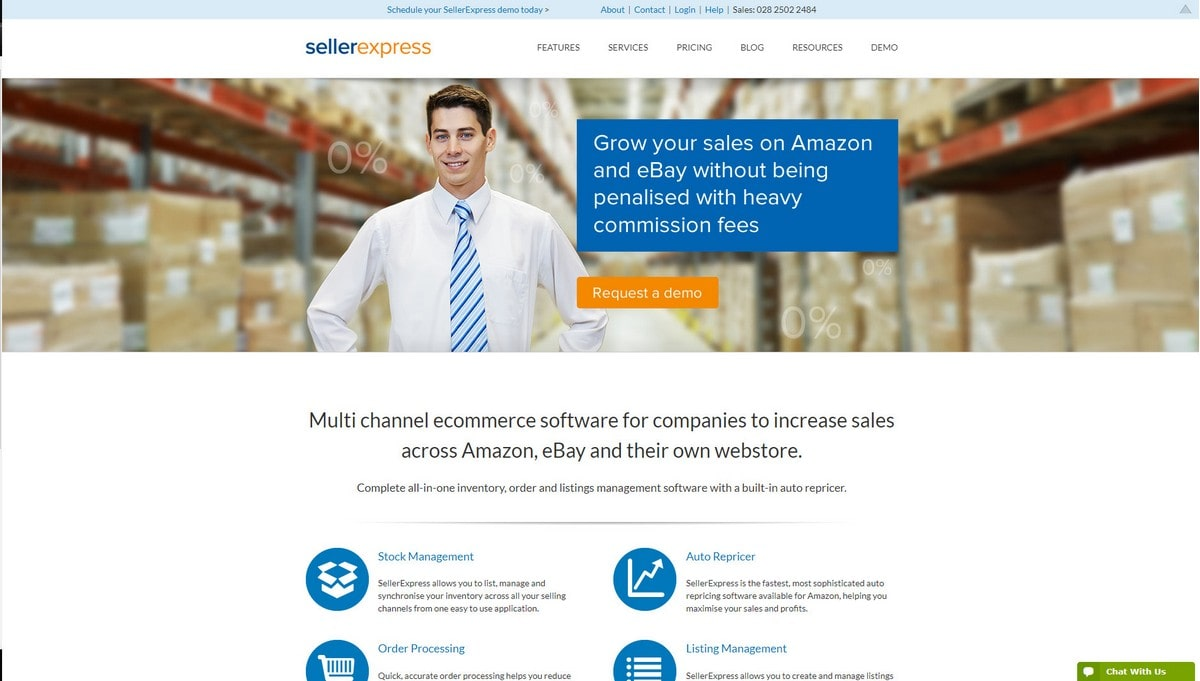 SellerExpress landing page screenshot