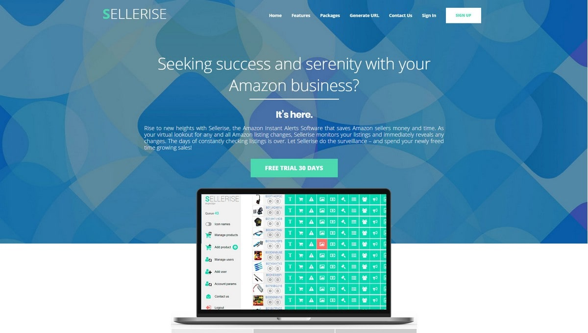 Sellerise  landing page screenshot
