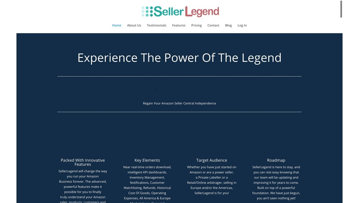 SellerLegend landing page screenshot