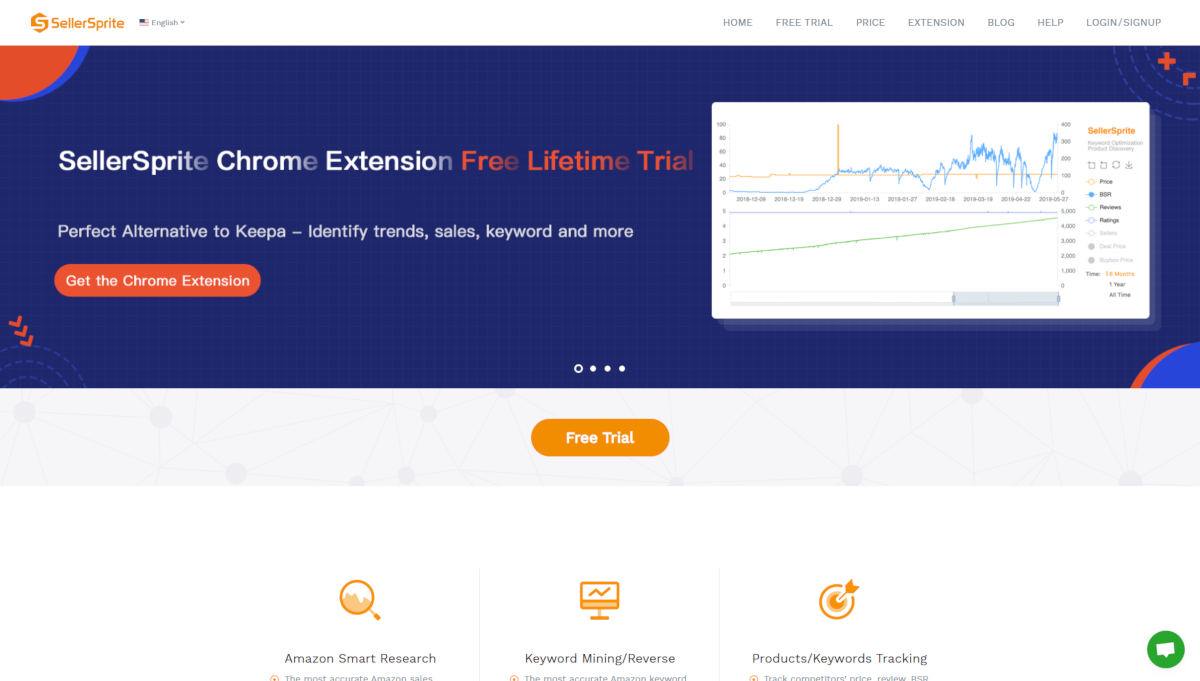 SellerSprite landing page screenshot
