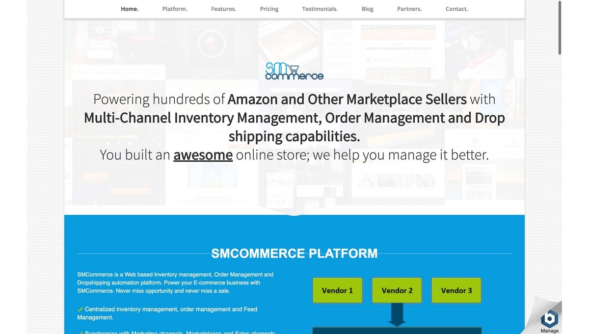 SM Commerce landing page screenshot