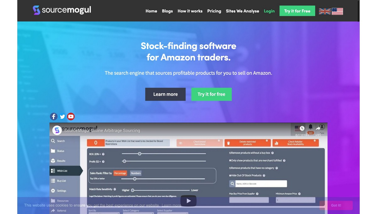 SourceMogul landing page screenshot