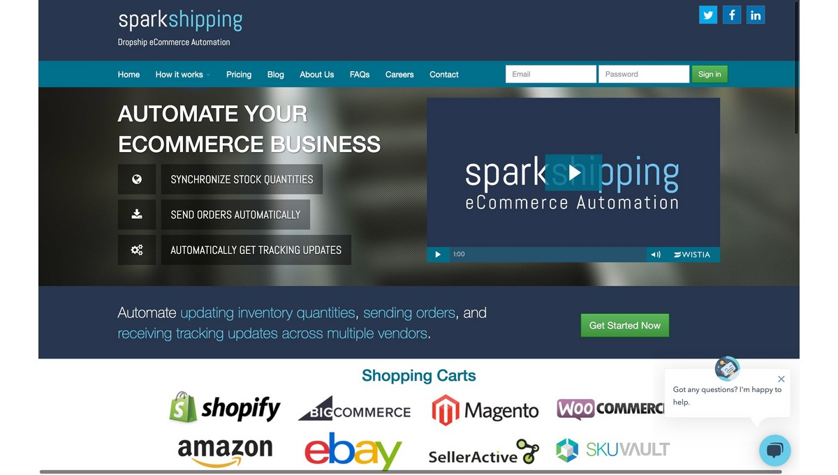 SparkShipping landing page screenshot