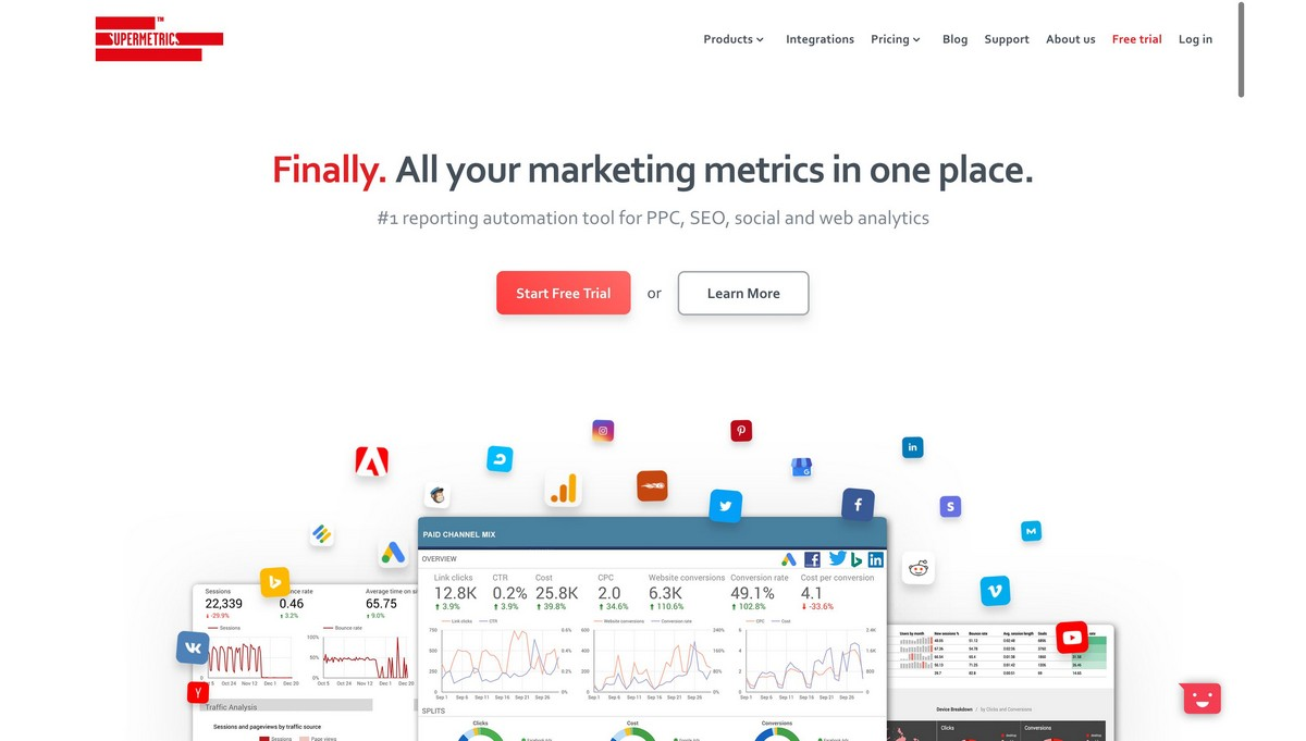 Supermetrics landing page screenshot