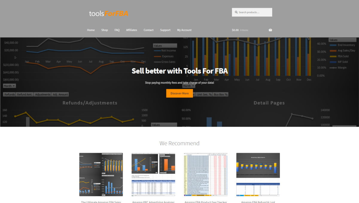 Tools For FBA landing page screenshot