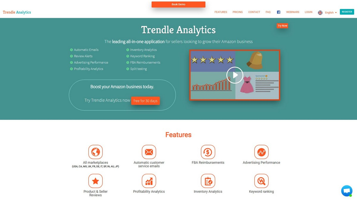 Trendle Analytics landing page screenshot