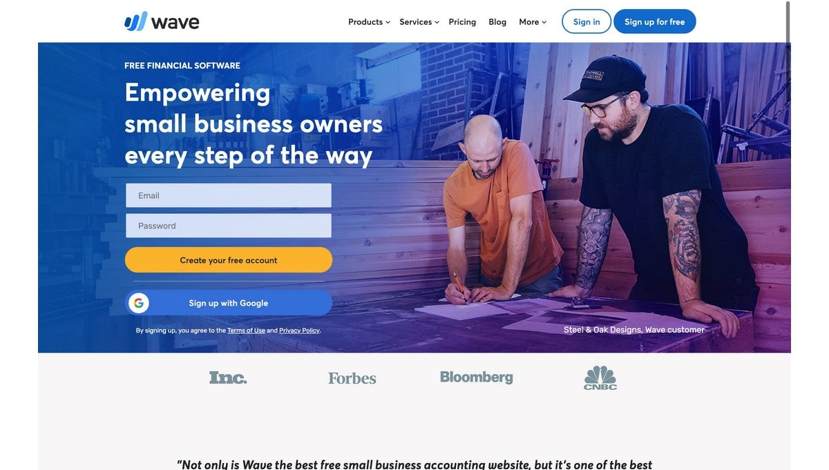 Wave landing page screenshot
