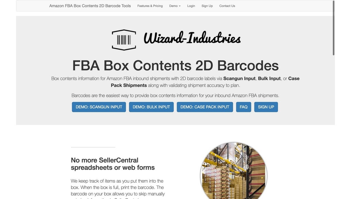 Wizard-Industries landing page screenshot