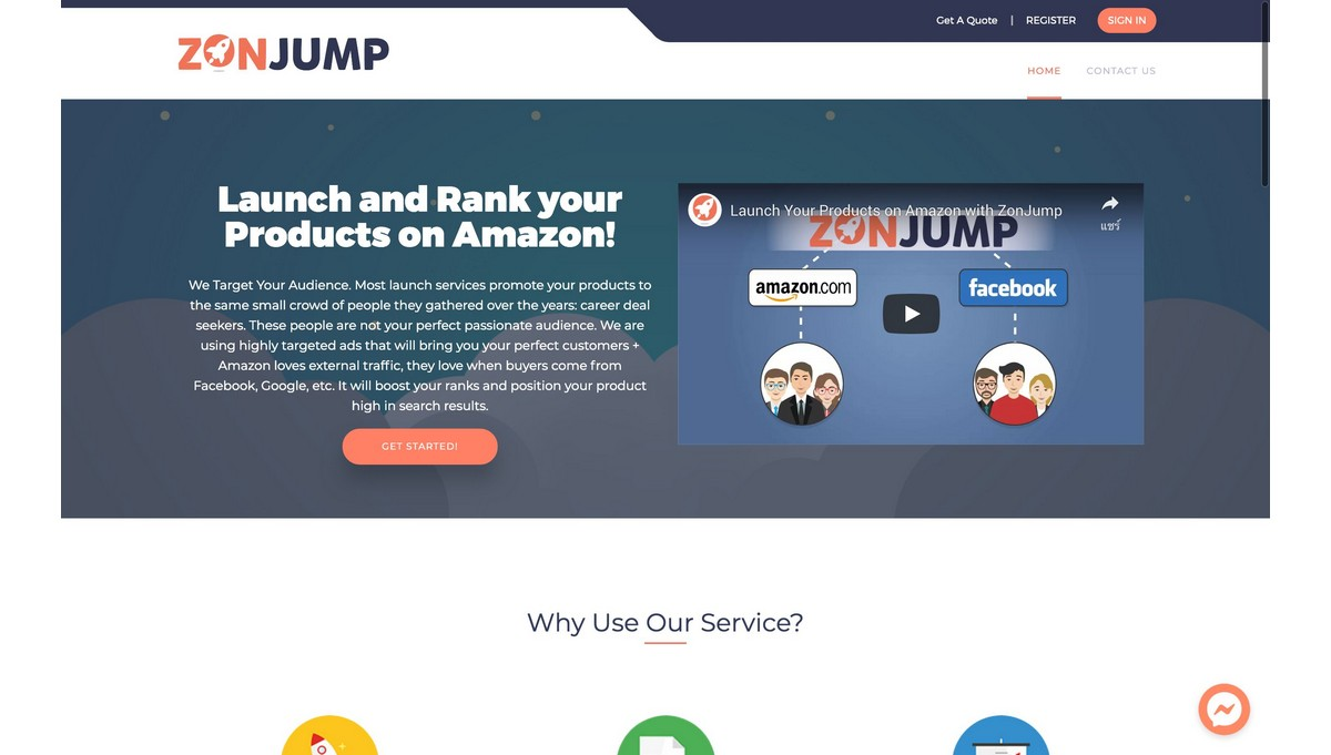 ZonJump landing page screenshot